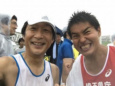 葛飾ふ~てんマラソンのハーフマラソンMタカシさんと2ショット