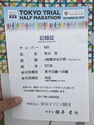 東京トライアルハーフマラソン2017記録証
