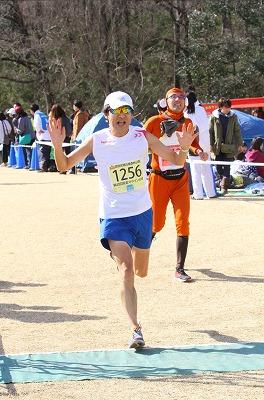 森林公園完走マラソンのゴール