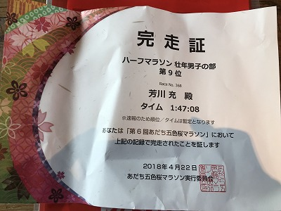 第6回あだち五色桜マラソン完走証
