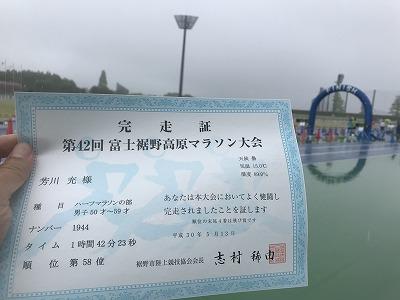 第42回富士裾野高原マラソン、感想証