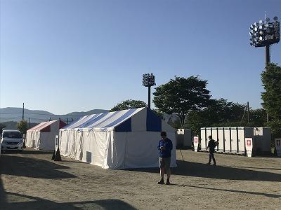 第9回忍野高原トレイルレース会場、更衣室とトイレ
