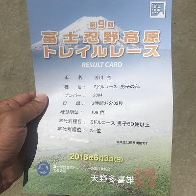 第9回忍野高原トレイルレース、結果
