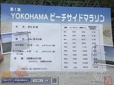 第1回横浜(YOKOHAMA)ビーチサイドマラソン30キロ完走証