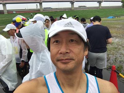 葛飾ふ~てんマラソンのスタート前自撮り