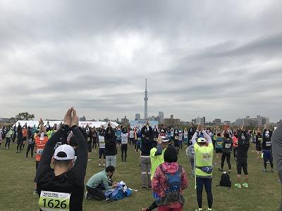 東京トライアルハーフマラソン2017のスタート前体操