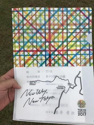 東京トライアルハーフマラソン2017記録証入れ