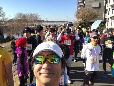 第2回UP RUN(アップラン)綱島鶴見川ウインターマラソン自撮り