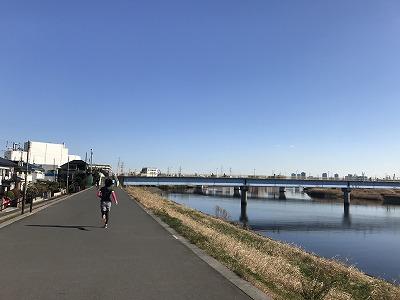 第2回UP RUN(アップラン)綱島鶴見川ウインターマラソン15キロスタート1キロ地点