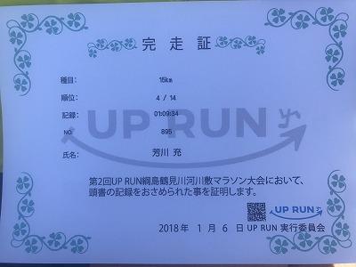 第2回UP RUN(アップラン)綱島鶴見川ウインターマラソン15キロ完走証