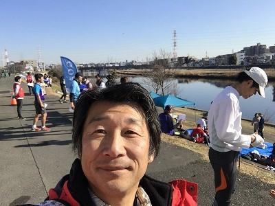 第2回UP RUN(アップラン)綱島鶴見川ウインターマラソン完走後の自撮り