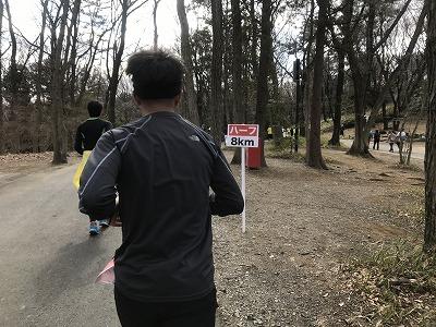 第43回森林公園完走マラソンハーフスタート8キロ標識
