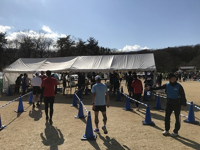 第43回森林公園完走マラソンハーフスタートゴール後記録証配布